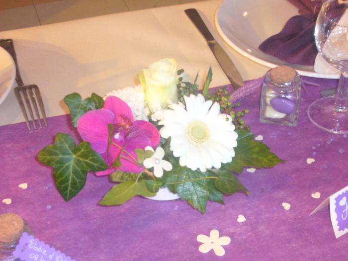 ... compositions florales Mariage Violet Ivoir - Conseils en décoration